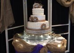 Shabby Chic Wedding Cake With Burlap Flowers